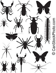 insect set - sixteen black silhouette of exotic insects and...