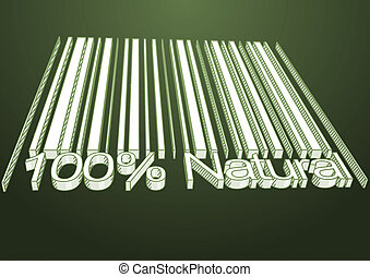 100 percent Natural barcodes drow as backgraund