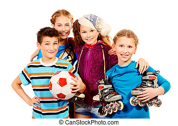 active generation - Group of children, fond of different...