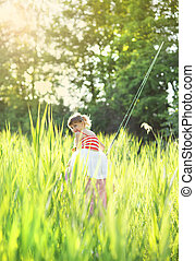 Little girl fishing - Cute little girl is ready to go...