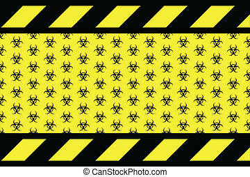 Warning sign for bio hazard on the yellow background vector