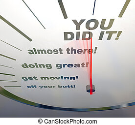 Motivational Speedometer - You Did It - A speedometer...