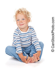 White curly hair and blue eyes baby Isolated on white...
