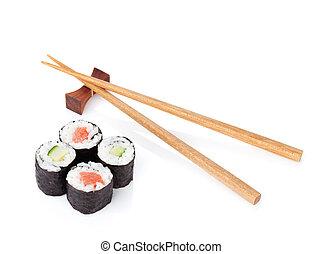 Sushi set and chopsticks. Isolated on white background
