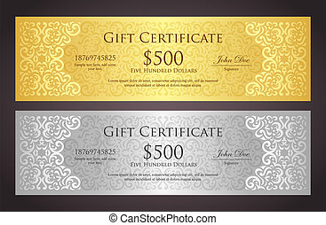 Luxury golden and silver gift certificate in vintage style -...
