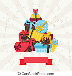 Celebration background or card with colorful gift boxes.