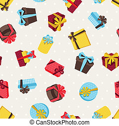 Seamless celebration pattern with colorful gift boxes