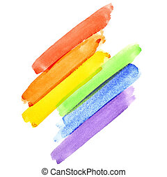 Rainbow - Painted rainbow watercolor brush strokes (Gay...
