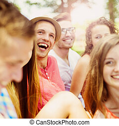 Friends having fun in park - Group of young people having...