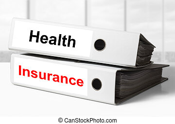 office binders health insurance - stack of two white office...