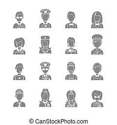 Profession avatar - Set of occupations profession people...