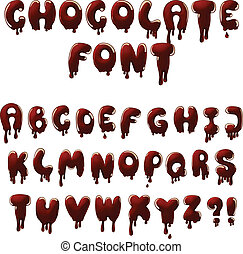 chocolate font - vector chocolate alphabet with smudges and...