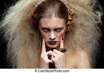 Halloween Beauty woman makeup - Halloween Beauty style woman...