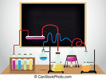 Chemical laboratory background - Vector Illustration of...