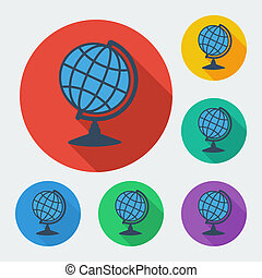 Flat style icon with long shadow, six colors, globe sphere.