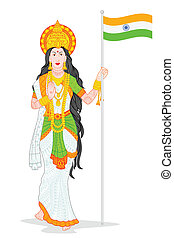 Mother India - easy to edit vector illustration of Mother...