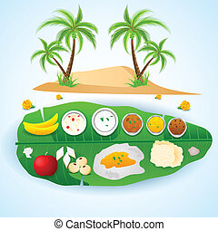 South Indian meal for Onam festival - easy to edit vector...