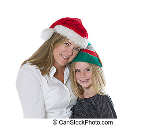 Mother and daughter in the holiday mood