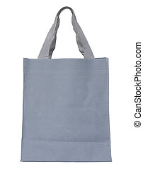 gray canvas bag isolated on white background with clipping...