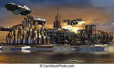 Futuristic marina city - Science fiction island city with...