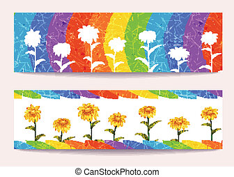 Vector banners with flowers on rainbow background