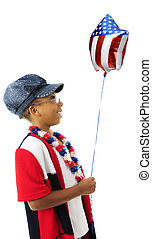 Patriot, Happy with Her Balloon - Profile of a young...