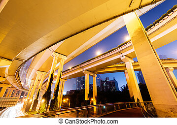 Shanghai interchange - under the elevated road in shanghai