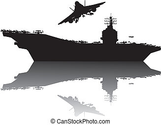 Navy power - Aircraft carrier and flying aircraft detailed...