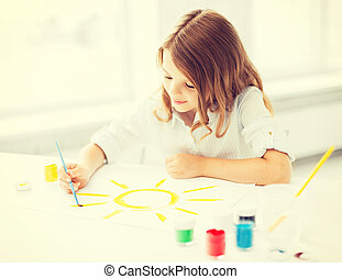 little girl painting picture - education, school, art and...