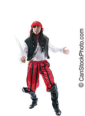 Adult man dressed as pirate, isolated on white background