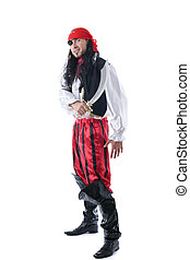 Hilarious man dressed as pirate for carnival