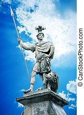 male statue with a lance - An image of a beautiful male...