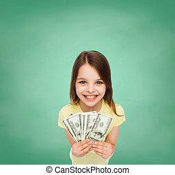 sorrindo, pequeno, menina, dólar, Dinheiro, Dinheiro