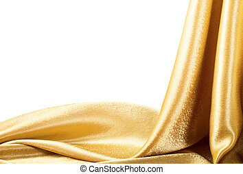 Golden Fabric silk texture for background Isolated on white...