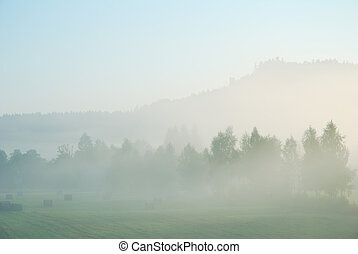 Foggy morning rural landscape with field, trees and distant hill