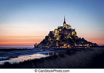 Mont Saint Michel at Sunset - Mont Saint Michel, France...