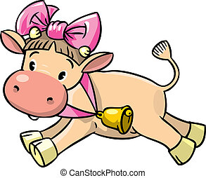 Baby cow - Children vector illustration of pretty funny baby...