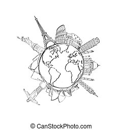earth and landmarks - travel background with earth and...