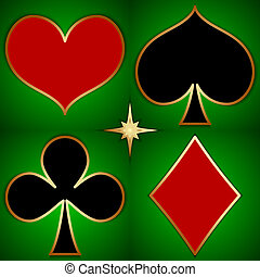 Vector abstract illustration of game cards suits on green...