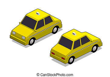 Orthographic yellow cab in isolated white background