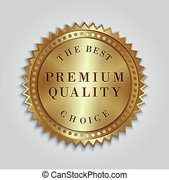 Vector round golden badge label with text - Vector round...