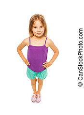 Little pretty girl in purple shirt