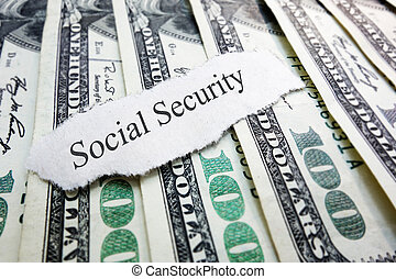Social Security newspaper scrap on assorted money...