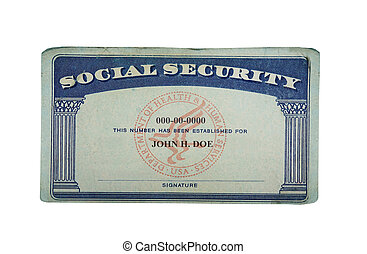 blank card - Blank US social security card isolated on white...