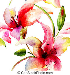 Seamless pattern with Original Lily flower, watercolor...
