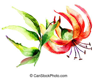 Decorative Lily flower, watercolor illustration