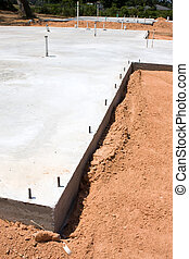 Construction Slab - A recently poured home construction slab...