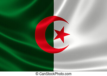 Close-up of Algeria's Flag - 3D rendering of the flag of...
