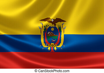 Ecuadors Flag - 3D rendering of the flag of Ecuador on satin...
