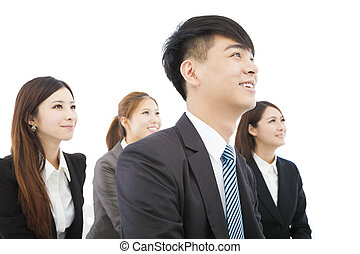 young asian business team standing together